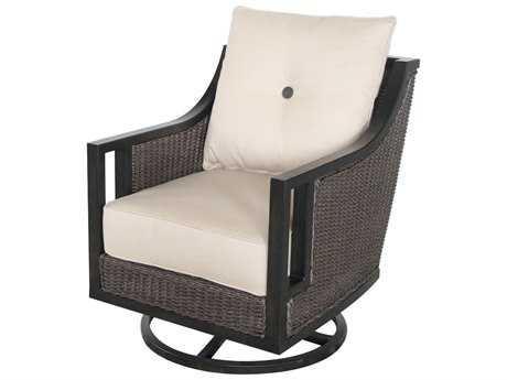 Sunvilla Pennant Aluminum Wicker Swivel Lounge Chair in Sailcloth Sahara SUNA13530002FCTL