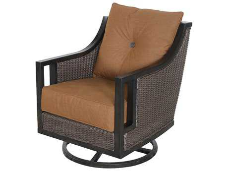 Sunvilla Pennant Aluminum Wicker Swivel Lounge Chair in Canvas Teak