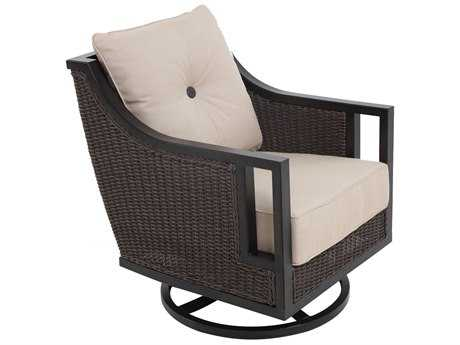 Sunvilla Pennant Aluminum Wicker Swivel Lounge Chair in Flagship Stone