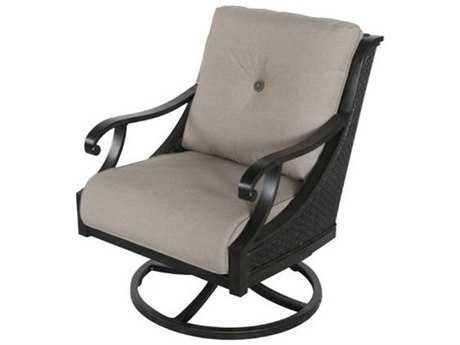 Sunvilla Somerset Cushion Cast Aluminum Wicker Swivel Lounge Chair in Sailcloth Shadow
