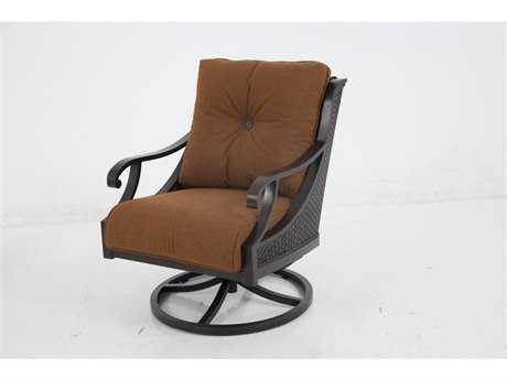 Sunvilla Somerset Cushion Cast Aluminum Wicker Swivel Lounge Chair in Canvas Teak