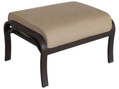 Sunvilla Riva Cushion Cast Aluminum Ottoman in Heather Beige