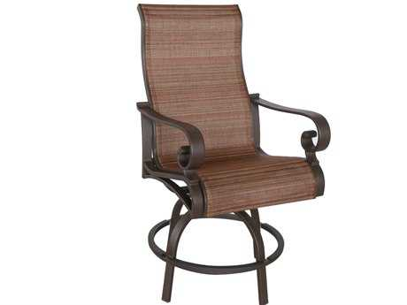 Sunvilla Riva Sling Cast Aluminum Bar Chair  in Weyburn Redwood