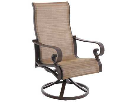 Sunvilla Riva Sling Cast Aluminum Swivel Dining Chair in Weyburn Tan (Sold in 2)