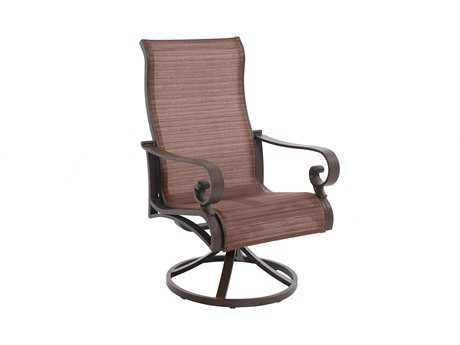 Sunvilla Riva Sling Cast Aluminum Sling Swivel Dining Chair in Weyburn Redwood