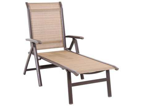 Sunvilla Florence Sling Aluminum Folding Chaise in Weyburn Tan