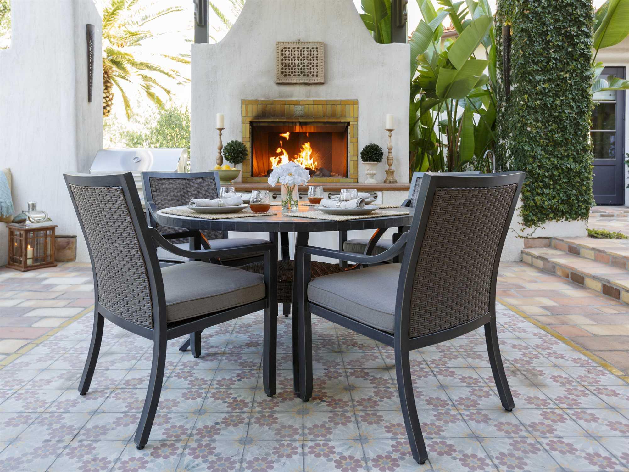 Sunvilla Belize Aluminum 54 Round Stone Top Dining Table