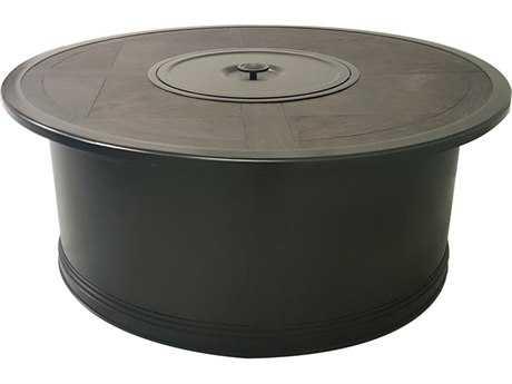 Sunvilla Slats Aluminum 48 x 35 Rectangular Fire Pit Table in Mahogany
