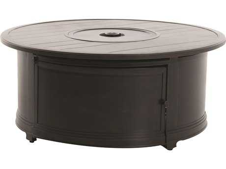 Sunvilla Aluminum 48 Round Slat Top Fire Pit Table in Mahogany