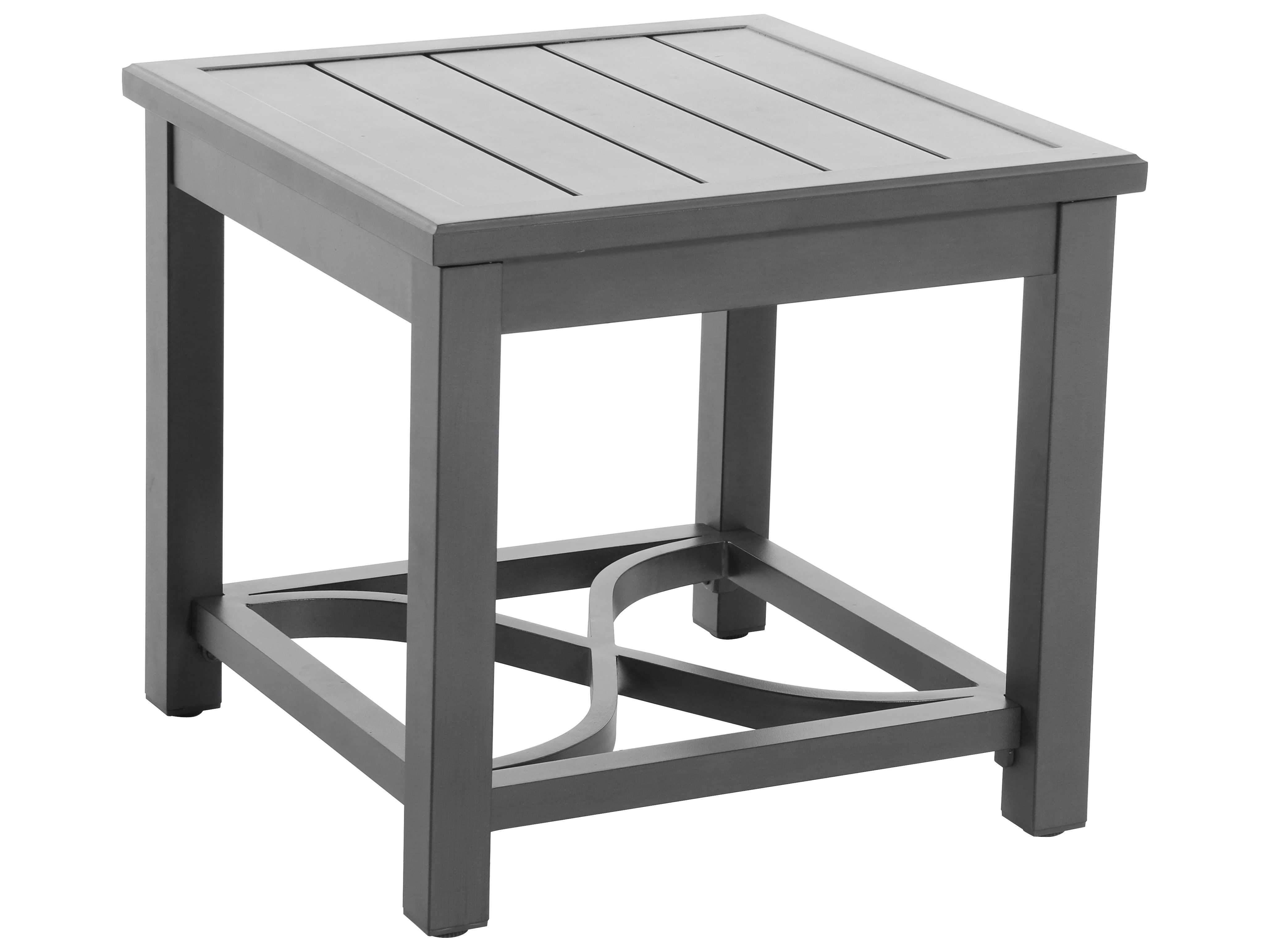 Aluminum 24 Square Slat Top Side Table In Slate SUNL02242401FPAN. Full resolution  photograph, nominally Width 4112 Height 3085 pixels, photograph with #60606B.