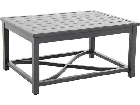 Sunvilla Aluminum 44 x 32 Rectangular Slat Top Coffee Table in Mahogany