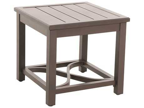 Sunvilla Aluminum 24 Square Slat Top Side Table in Mahogany