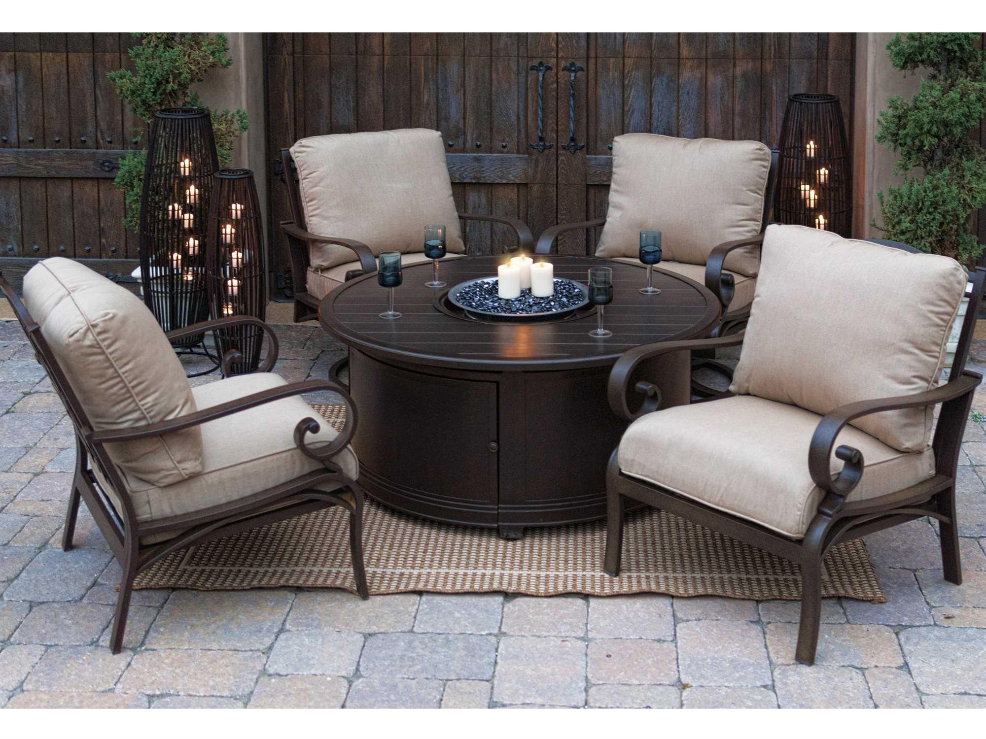 Sunvilla Aluminum 48 Round Slat Top Fire Pit Table in Sunset
