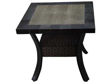 Sunvilla Belize Aluminum Wicker 24 Square Stone Top End Table in Slate