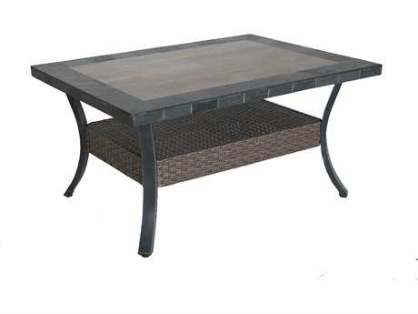 Sunvilla Belize Aluminum Wicker 44 x 32 Rectangular Stone Top Coffee Table in Slate