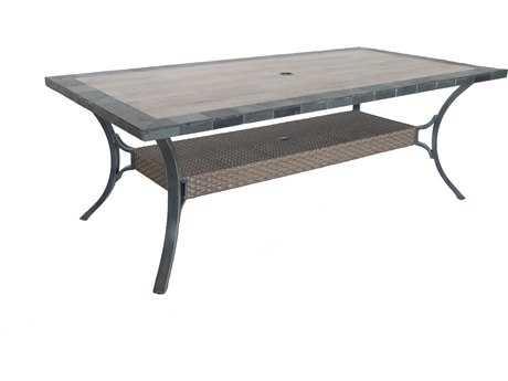 Sunvilla Belize Aluminum 82 x 44 Rectangular Stone Top Dining Table in Slate