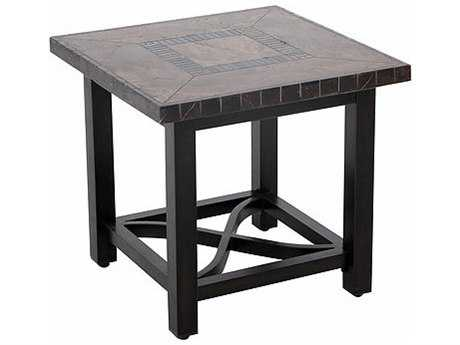 Sunvilla Pennant Aluminum 24 Sqaure Stone Top Table in Mahogany