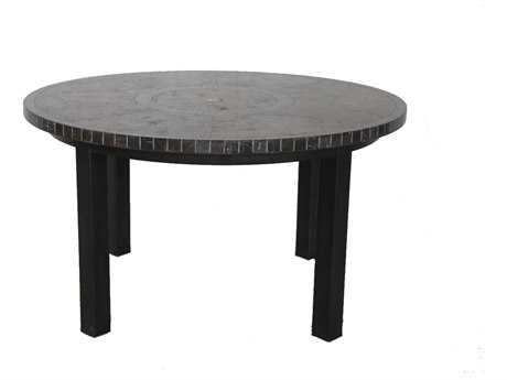 Sunvilla Pennant Aluminum 54 Round Stone Top Dining Table in Mahogany