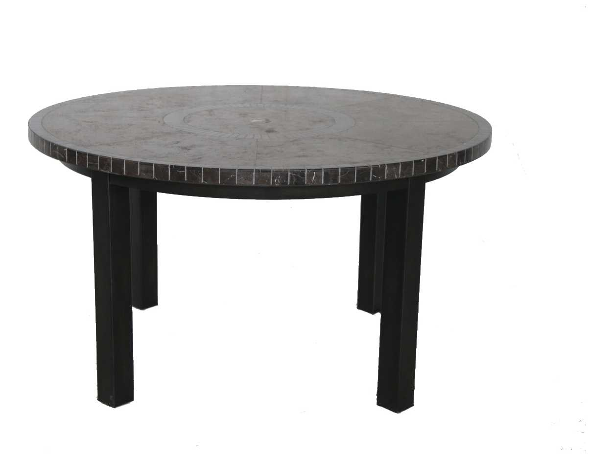 Sunvilla pennant aluminum 54 round stone top dining table for Round stone top dining table