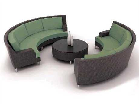 Suncoast Radiate Arc Wicker 4 Sectional Cushion Wicker Lounge Set