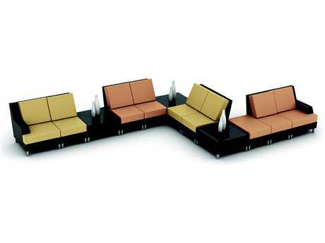 Suncoast Radiate Linear and Curved End Table Sectional Cushion Wicker Lounge Set 33W x 33D x 15H