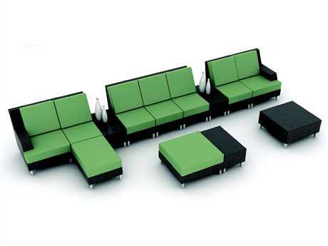 Suncoast Radiate Linear Sectional Cushion Wicker Lounge Set 33W x 33D x 15H