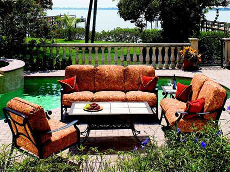 Suncoast Rendezvous Cushion Cast Aluminum Lounge Set