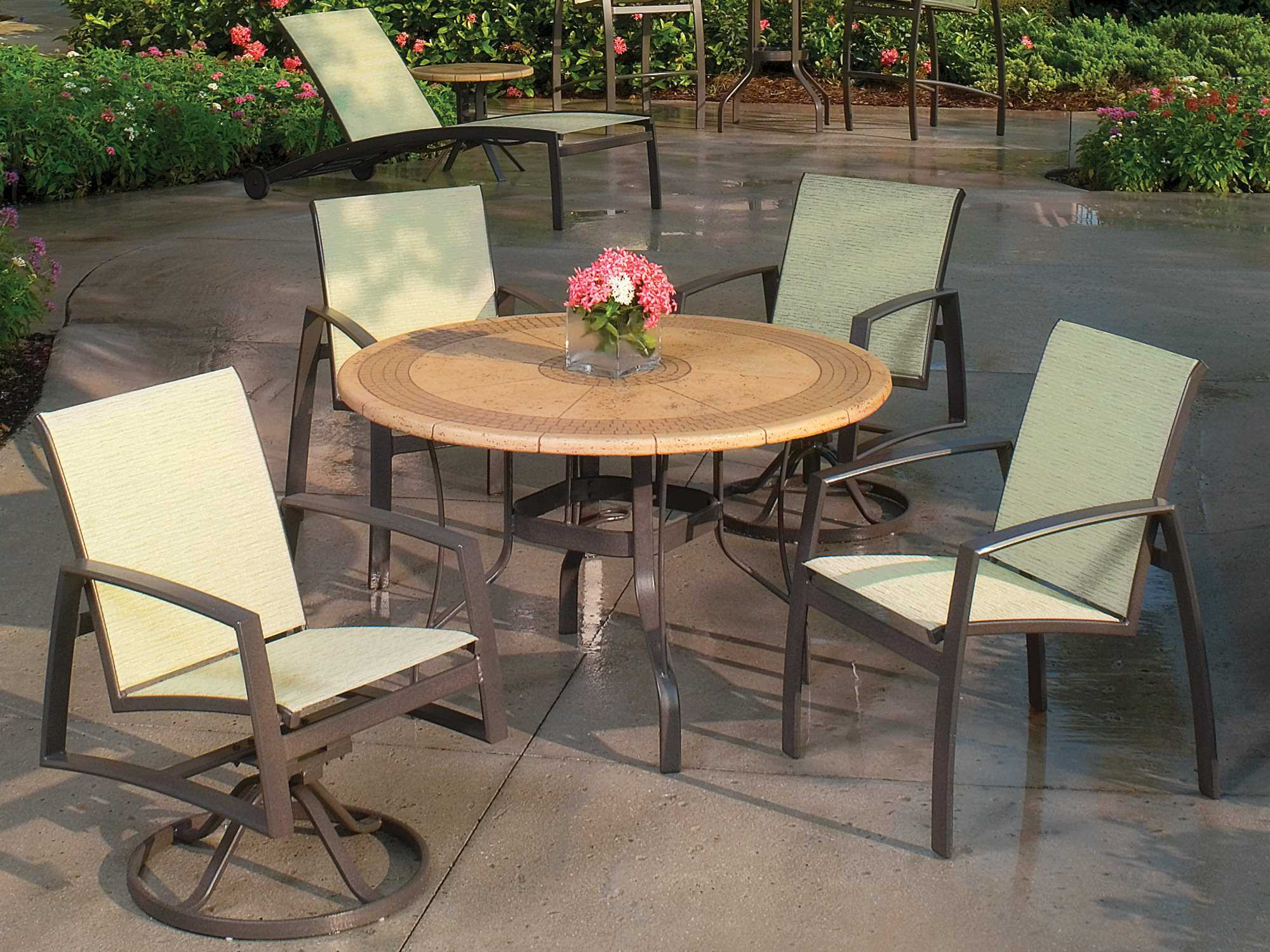 Suncoast Cortez Natural Stone 48 Round Dining Table TOPS 1611 E7T48D