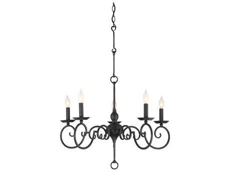 Savoy House Winbrook Aged Iron Five-Light 30'' Wide Chandelier with Metal Candle Cover