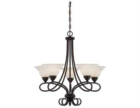 Savoy House Main Street Oxford English Bronze Five-Light 27'' Wide Chandelier