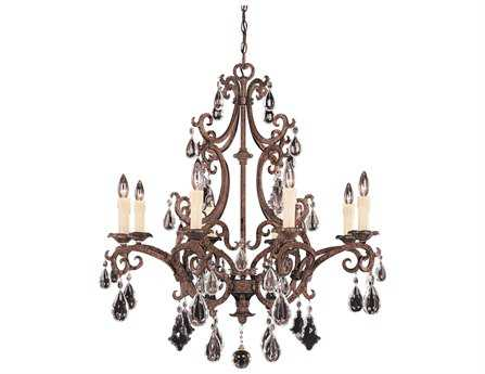 Savoy House Olde World Florence New Tortoise Shell Eight-Light 33'' Wide Chandelier