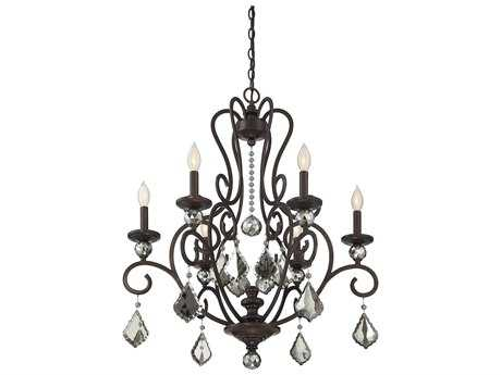 Savoy House Stratton Statuary Bronze Six-Light 28'' Wide Chandelier with Clear Mercury Coated Crystal and Metal Candle Cover