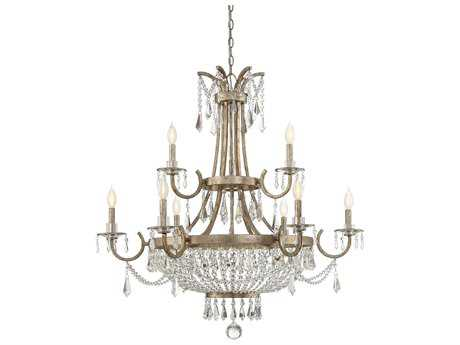 Savoy House Claiborne Avalite Nine-Light 38'' Wide Chandelier with Clear Crystal and Metal Candle Cover