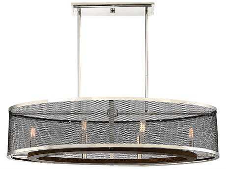 Savoy House Valcor Polished Nickel with Graphite & Wood Accents Six-Light 36'' Wide Trestle Island Light
