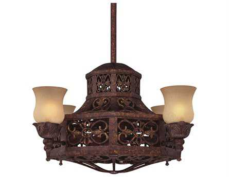 Savoy House Fan d'Lier Fire Island New Tortoise Shell Four-Light Ceiling Fan/Chandelier