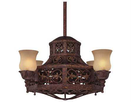 Savoy House Fan d'Lier Fire Island New Tortoise Shell Four-Light Ceiling Fan/Chandelier