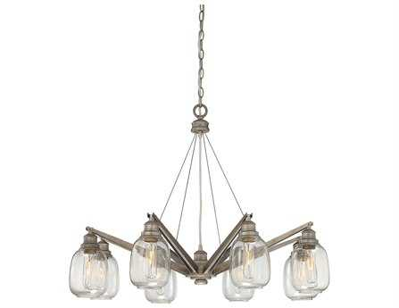 Savoy House Industrial Orsay Industrial Steel Eight-Light 34'' Wide Chandelier