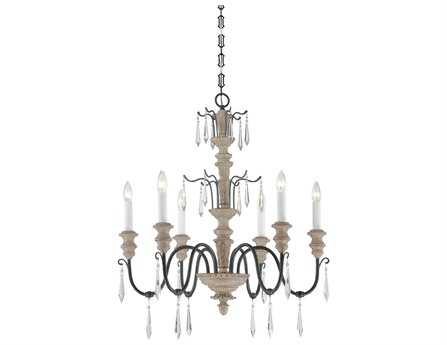 Savoy House French Country Madeliane Distressed White Wood And Iron Six-Light 27'' Wide Chandelier
