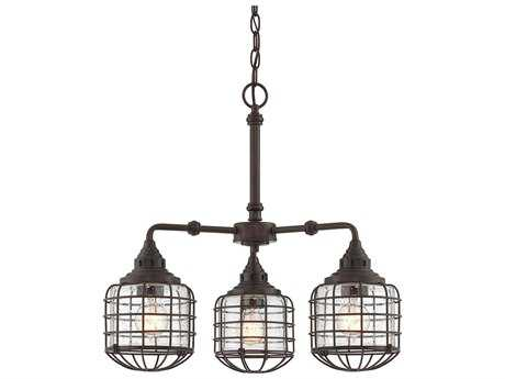 Savoy House Connell English Bronze Three-Light 23'' Wide Island Ceiling Light with Clear Seedy Glass
