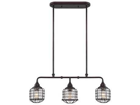 Savoy House Connell English Bronze Three-Light 35'' Wide Island Ceiling Light with Clear Seedy Glass