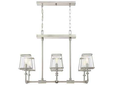 Savoy House Damascus Satin Nickel Six-Light 32'' Wide Island Ceiling Light with Clear Seeded Glass