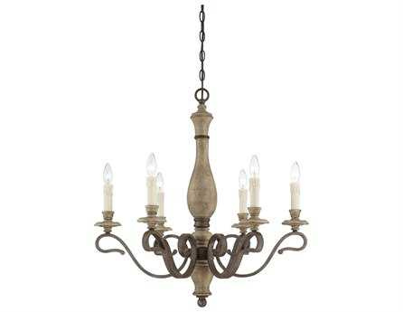 Savoy House French Country Mallory Fossil Stone Six-Light 28'' Wide Chandelier