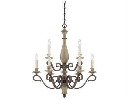 Savoy House French Country Mallory Fossil Stone Nine-Light 28'' Wide Chandelier
