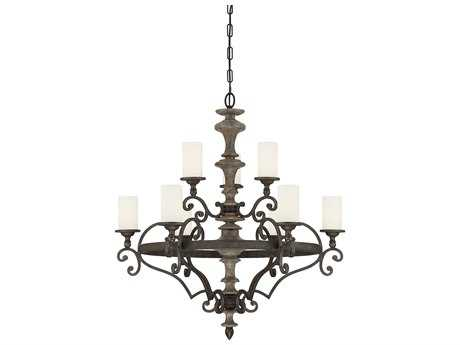 Savoy House Strathmore Century Bronze Nine-Light 33'' Wide Chandelier with Soft White Glass
