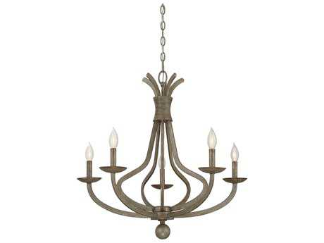 Savoy House Rosette Chateau Linen Five-Light 28'' Wide Chandelier with Metal Candle Cover