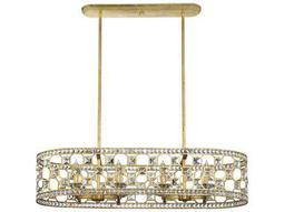 Savoy House Clarion Gold Bullion Eight-Light 41.5'' Wide Island Ceiling Light with Clear Crystal and Metal Candle Cover