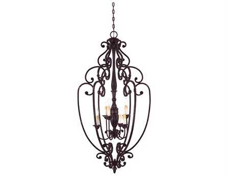 Savoy House Casual Lifestyles Bedford Distressed Bronze Six-Light Open Foyer Pendant