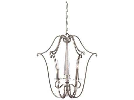 Savoy House Kendall Vintage Nickel Three-Light 25'' Wide Mini-Chandelier with Clear Crystal and Metal Candle Cover