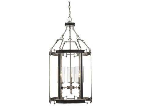 Savoy House Gramercy Polished Pewter & Black Leatherette Three-Light 18'' Wide Chandelier