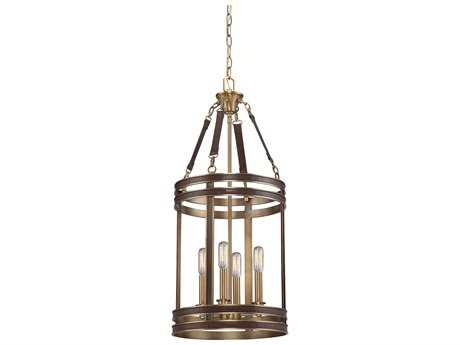 Savoy House Harrington Harness Leather with Rubbed Brass Four-Light 13'' Wide Mini-Chandelier